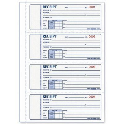 REDIFORM OFFICE PRODUCTS Rent Receipts Book,Carbonless,2 Part,2-3 - printable receipt book