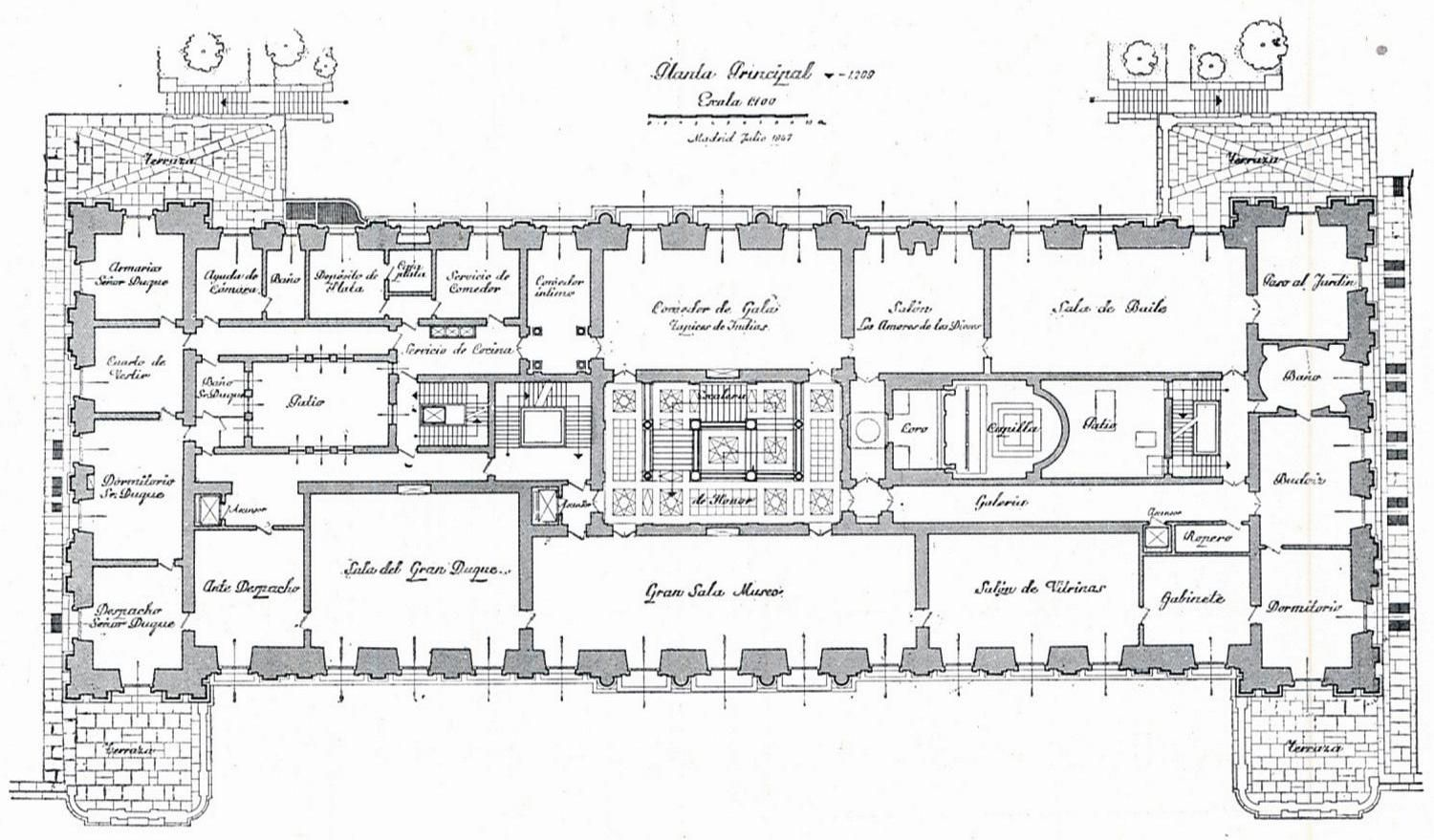 Liria palace principal plan architectural drawings for Palace house plans