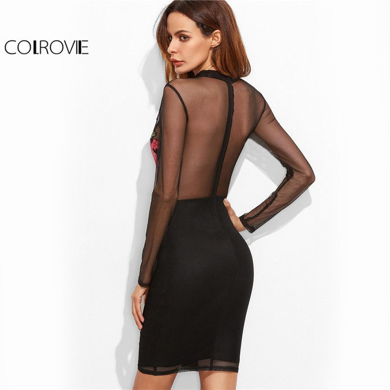 f914dba81bee7 Sexy Long Sleeve Tight Dress Women Mini Dress Black Cutout Choker Neck  Embroidered Mesh Overlay Bodycon