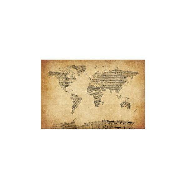 Map of the World Map from Old Sheet Music Photographic Wall Art ...
