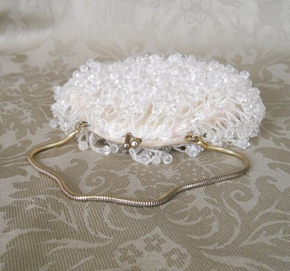Vintage White Sequins Beaded Bag Vermeil Gold Snake Chain Handmade Wedding Purse