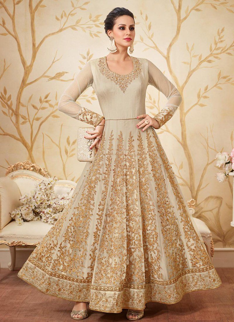 cd93977a9ab Beige and Gold Embroidered Net Anarkali Suit