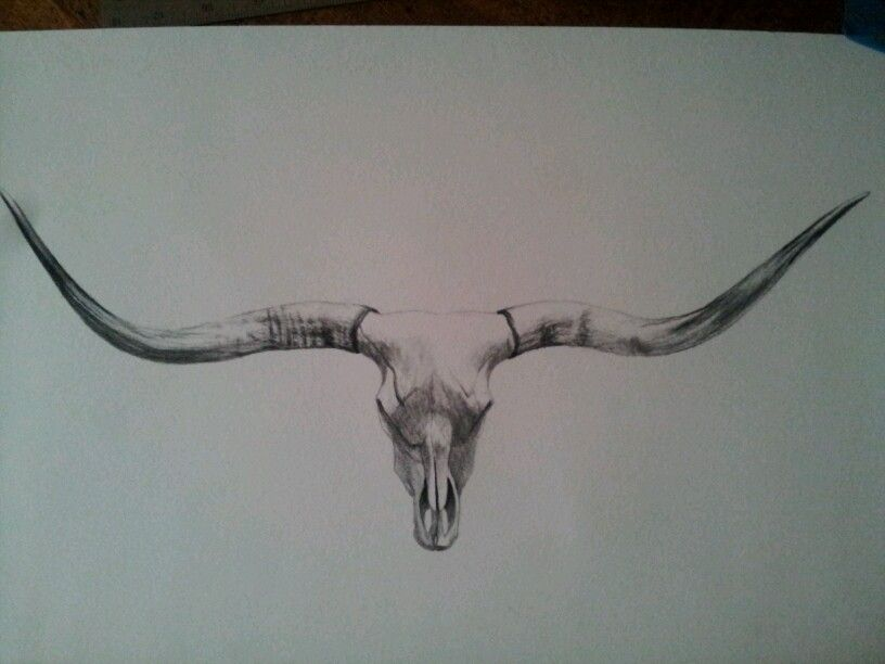 Longhorn Skull Drawing New Clock Wood Goodness Tattoos Bull