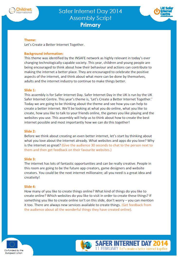 Safer Internet Day Primary Assembly Script Resources Tes Safe Internet Primary Teaching Resources