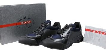 f142fd1f8 GB1021879 Authentic Prada Rois Bike Leather Sneakers Men Size 9 Black Navy  Blue Box included Dust bag included