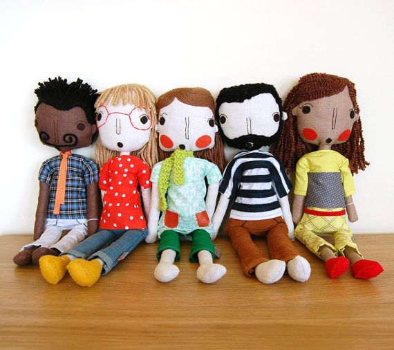 Retro Rag Doll Handmade Doll Girl Doll Fabric Doll by simplijessi