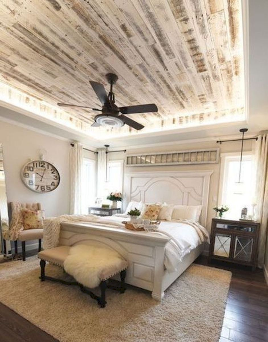 Awesome Farmhouse Rustic Master Bedroom Ideas (13) | Wooden Ceilings
