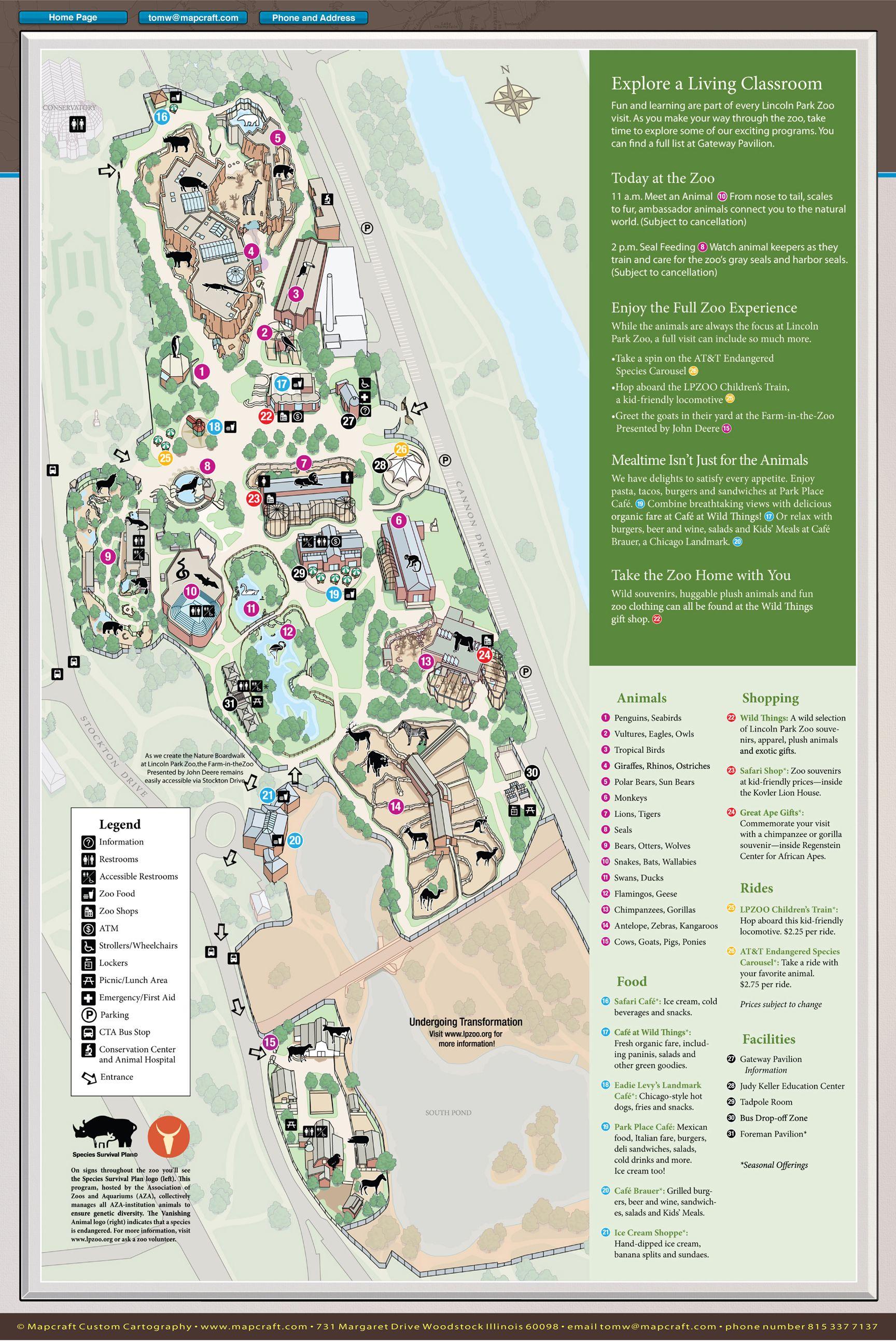 Mapcraft Custom Cartography Lincoln Park Zoo Lincoln Park Zoo Zoo Map Cartography