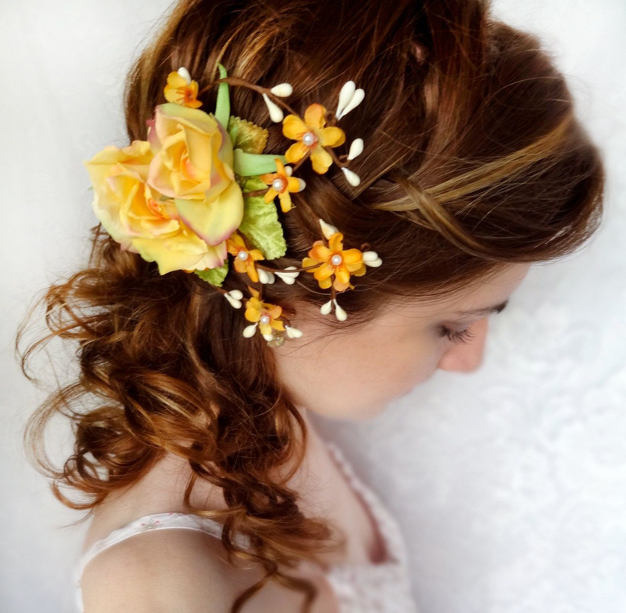 yellow flower hair clip, natural twiggy accessory