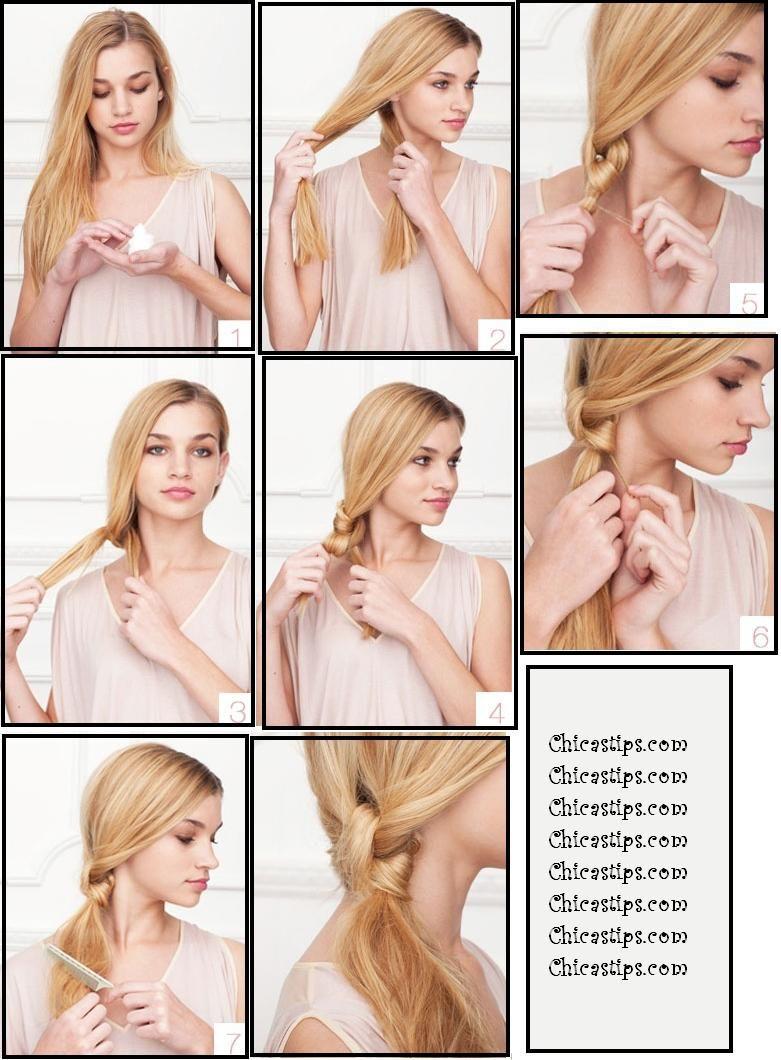 Un peinado muy fácil de hacer, aplicar espuma en el pelo. Peinar todo el cabello hacia un lado, dividirlo en dos mechone\u2026
