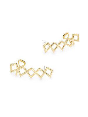 Noir Open Space Bennett Ear Crawlers/Goldtone - Gold - Size No Size