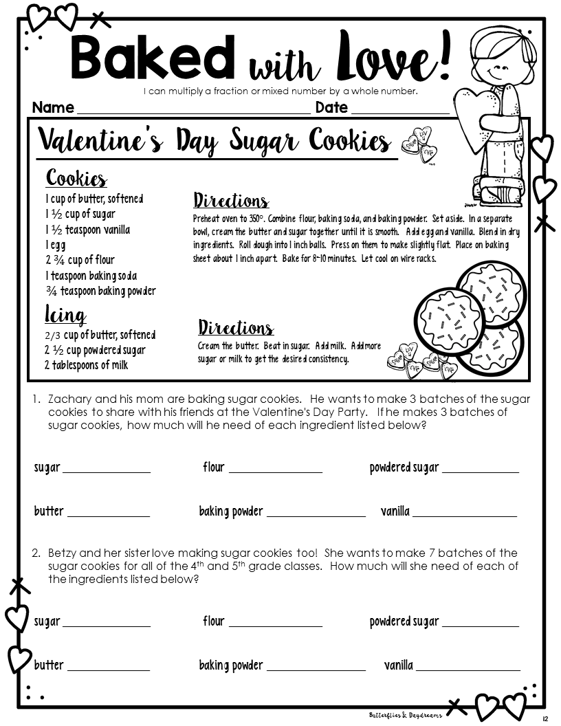 Baked With Love Multiplying Fractions Valentine S Day Themed For 4th And 5th Grade Multiplying Fractions Fractions Teaching Fractions [ 1056 x 816 Pixel ]