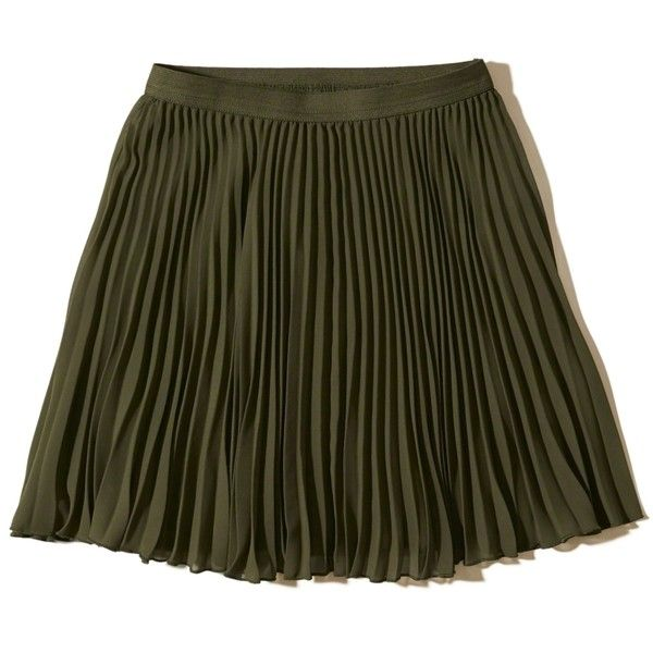 Hollister Pleated Skater Skirt (83605 PYG) ❤ liked on Polyvore featuring skirts, hollister, olive, pleated skirt, skater skirt, draped skirt, green pleated skirt and flared pleated skirt
