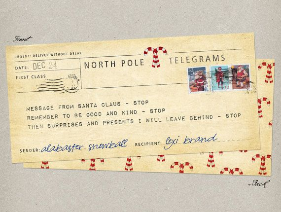 Personalised telegram from santa claus vintage by chirpipaperie items similar to personalised telegram from santa claus message from the north pole spiritdancerdesigns Choice Image