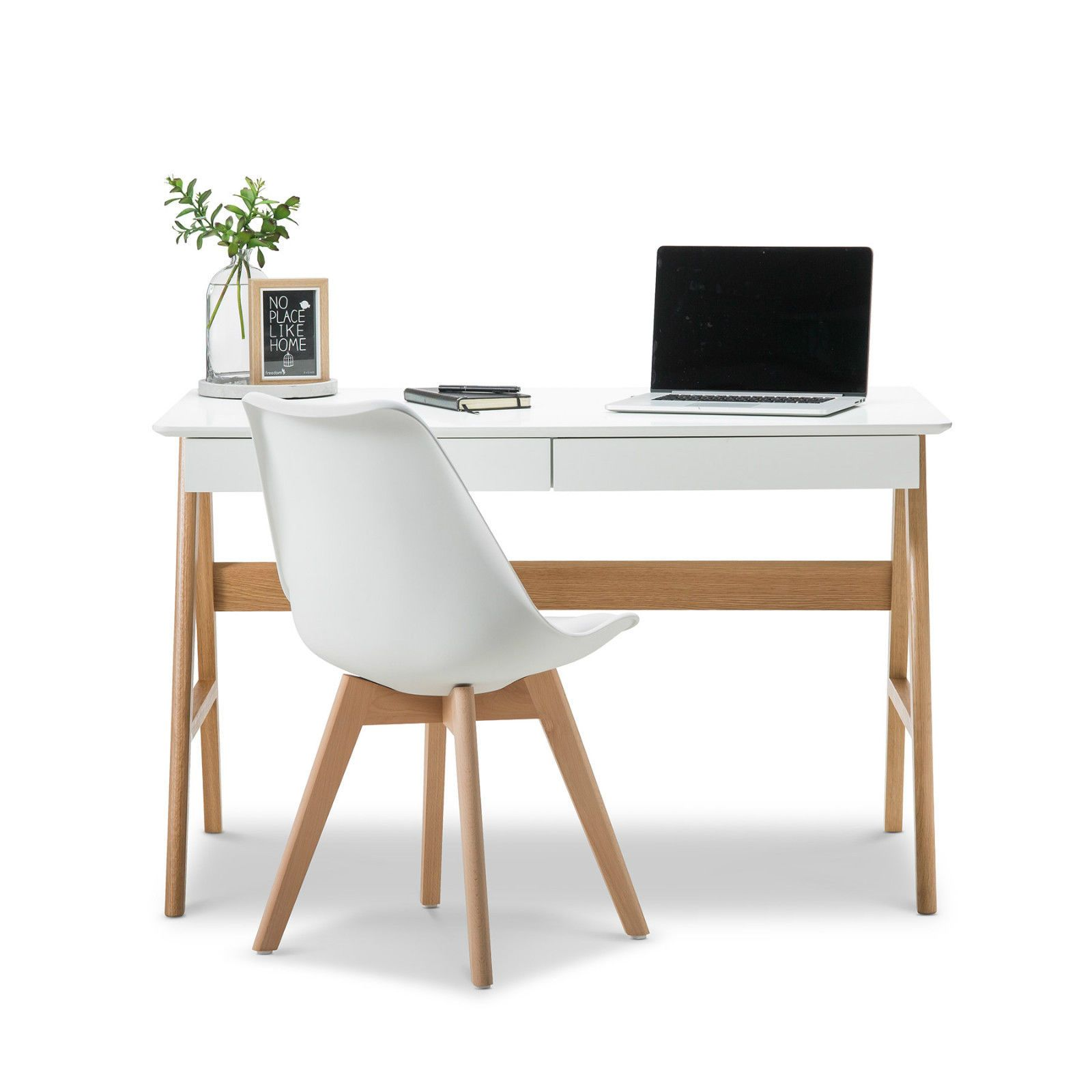 Timber Computer Desk Modern Retro White Scandinavian Danish Study Home Office Timber