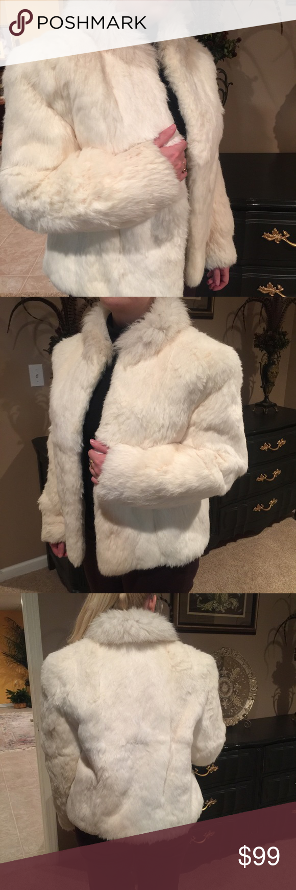BB Dakota real rabbit fur cream jacket M org. $249 BBDakota beautiful white/cream rabbit fur with Fox collar . Half hip length . No damage, stored professionally, conditioned and ready for winter. Original price$249.00 size M BB Dakota Jackets & Coats