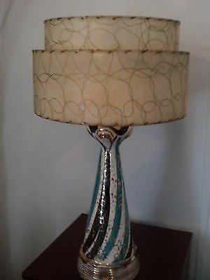 Vintage Ceramic Gold Speckled Table Lamp With 2 Tier Fiberglass Shade