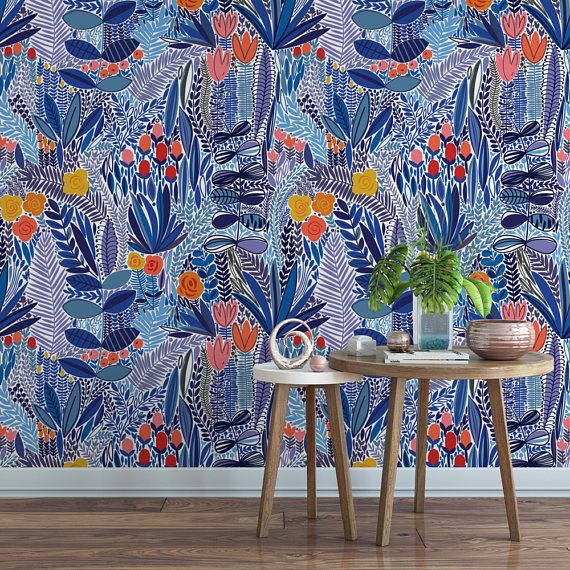 Blue Wildflower Field Floral Removable Wallpaper