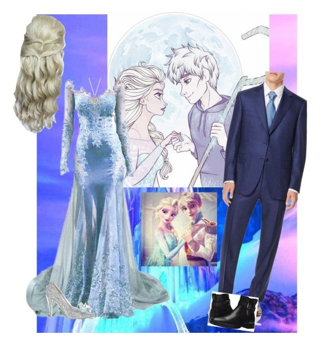 """""""Elsa and Jack Frost Wedding"""" by fashion-scarlet ❤ liked on Polyvore featuring Disney, Jimmy Choo, Canali and Aquatalia by Marvin K."""