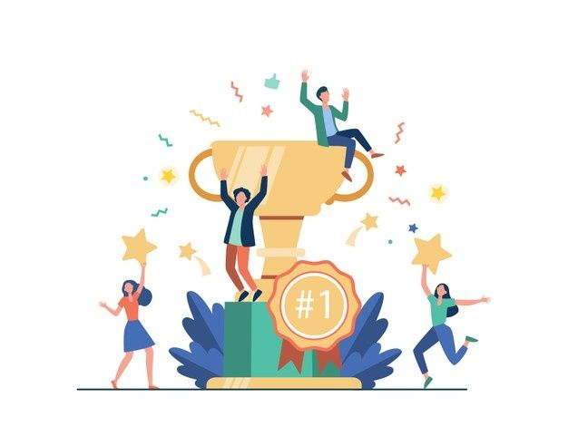 Download Team Of Happy Employees Winning Award And Celebrating Success. Business People Enjoying Victory, Getting Gold Cup Trophy. Vector Illustration For Reward, Prize, Champions S for free