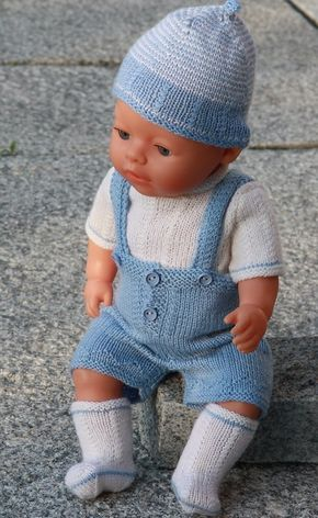 Lovely doll knitting pattern to Baby born in light blue and white ...