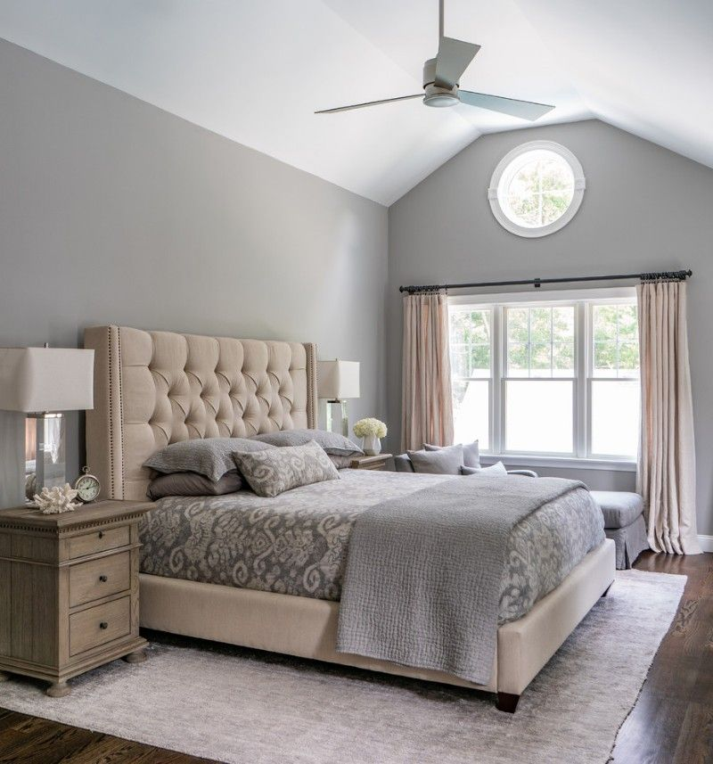 Large Traditional Master Bedroom With Dark Wood Floor And With