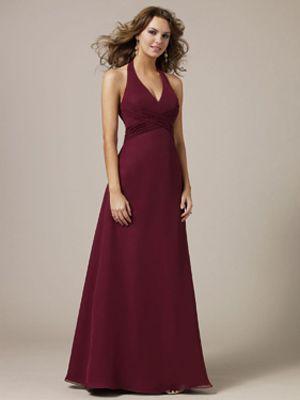 A-Line Halter V-Neck Long / Floor-Length Chiffon Bridesmaid Dress