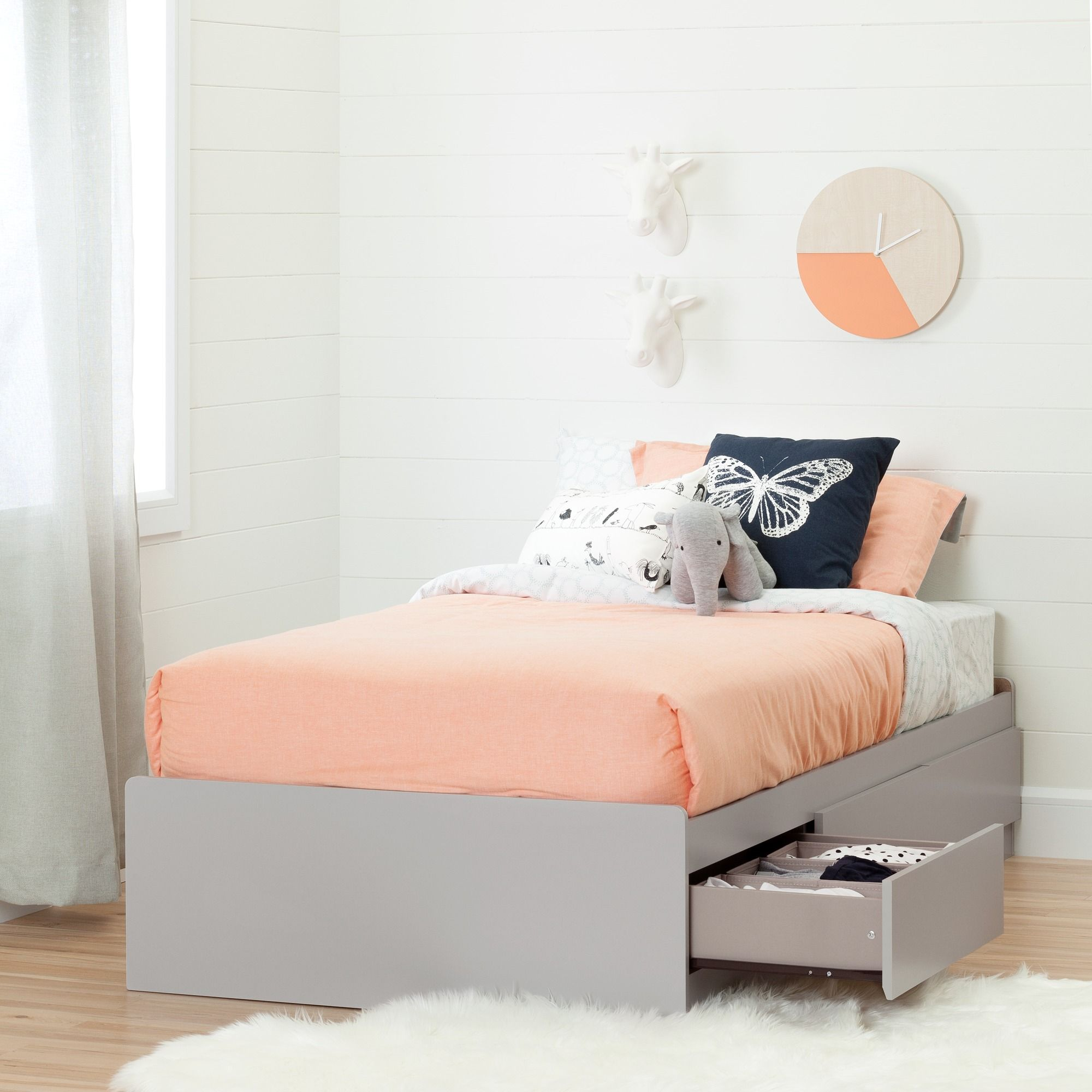 South Shore Cookie Twin Mates Bed 39 With 3 Drawers Soft Gray Twin Storage Bed Kid Beds Bed With Drawers