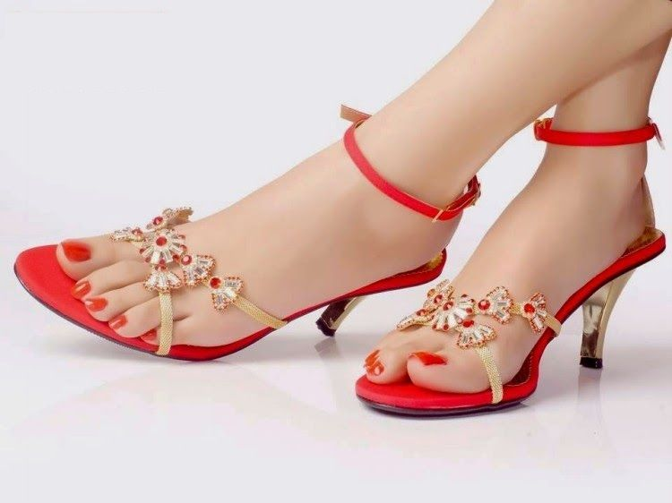 Red Wedding Shoe Ankle Strap Low Heels