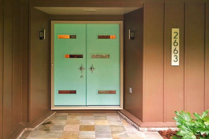 Diy Midcentury Modern Double Doors The Cosmic Ranch Mid Century Modern Exterior Double Doors Exterior Midcentury Modern