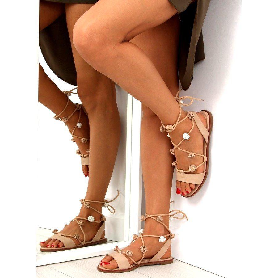 Sandalki Wiazane Na Kostke Bezowe Sr 2687 Bezowy Lace Up Flat Fashion Valentino Studs