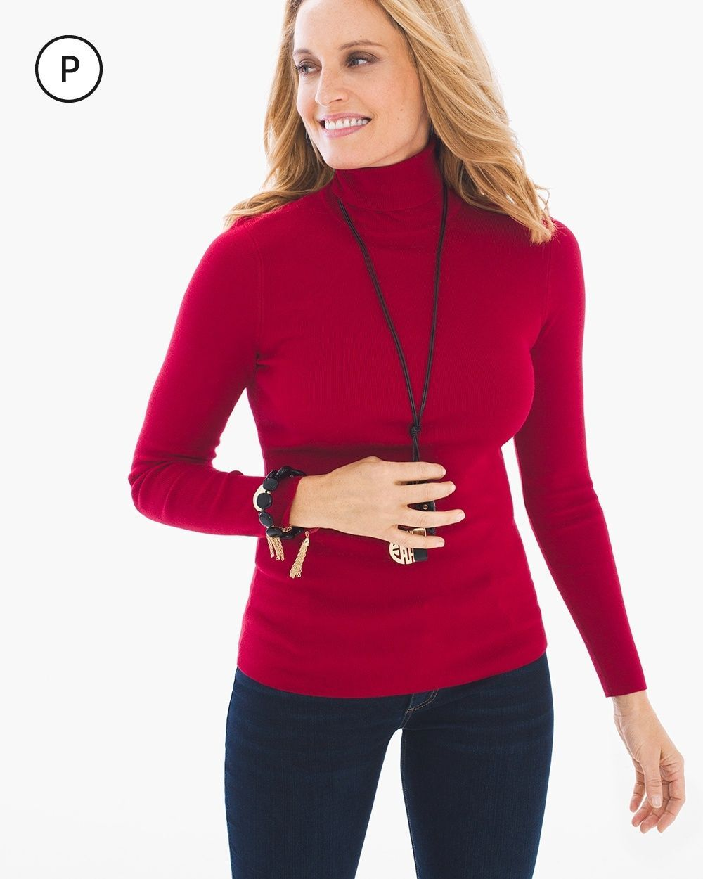 Chico's Women's Petite Rachel Turtleneck, Renaissance Red, Size: 3P (16P/18P XL)