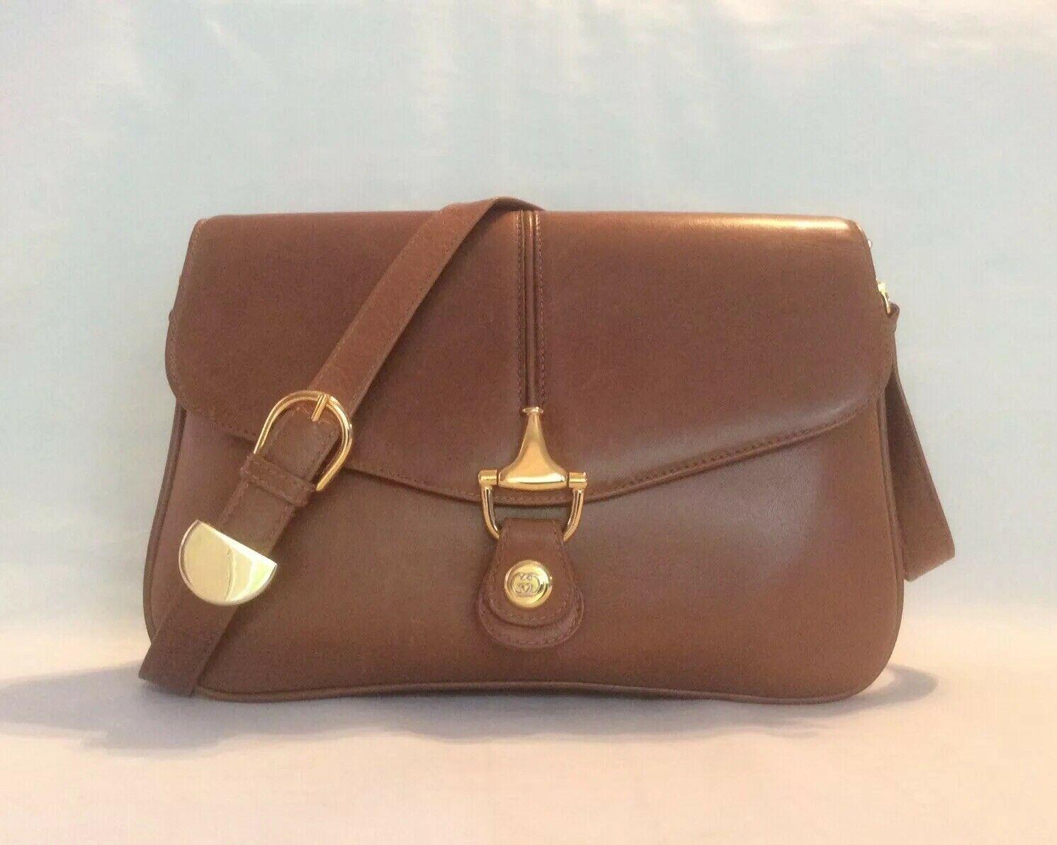 Forsale Vintage Original Gucci Nocciola Calf Leather Gusset Horsebit Shoulder Bag Italy Gucci Calf Leather Bags Brown Shoulder Bag