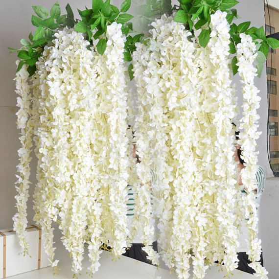 Without leaves wisteria garland 70 hanging flowers 5pcs for outdoor extra long white artificial silk hydrangea flower wisteria garland hanging ornament for garden home wedding decoration supplies from china decorative junglespirit Image collections