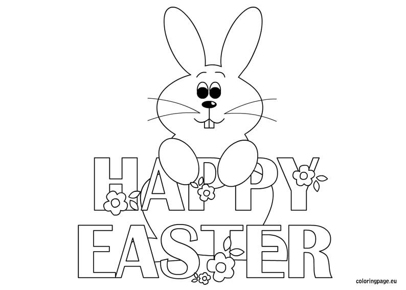 Happy Easter Bunny Coloring Pages Easter Colouring Easter