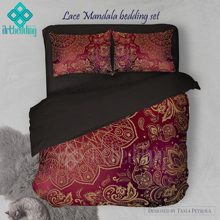 Lace Mandala bedding Mehendi Mandala duvet bedding set