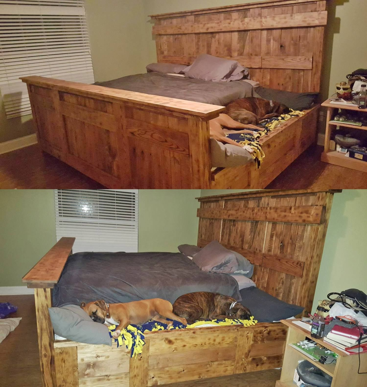 This Is Genius This Wooden King Size Bed Frame Leaves Extra Room To The Side Of Your Mattress For A Sleeping Area For Your Dogs Home Dog Bed King Bed Frame