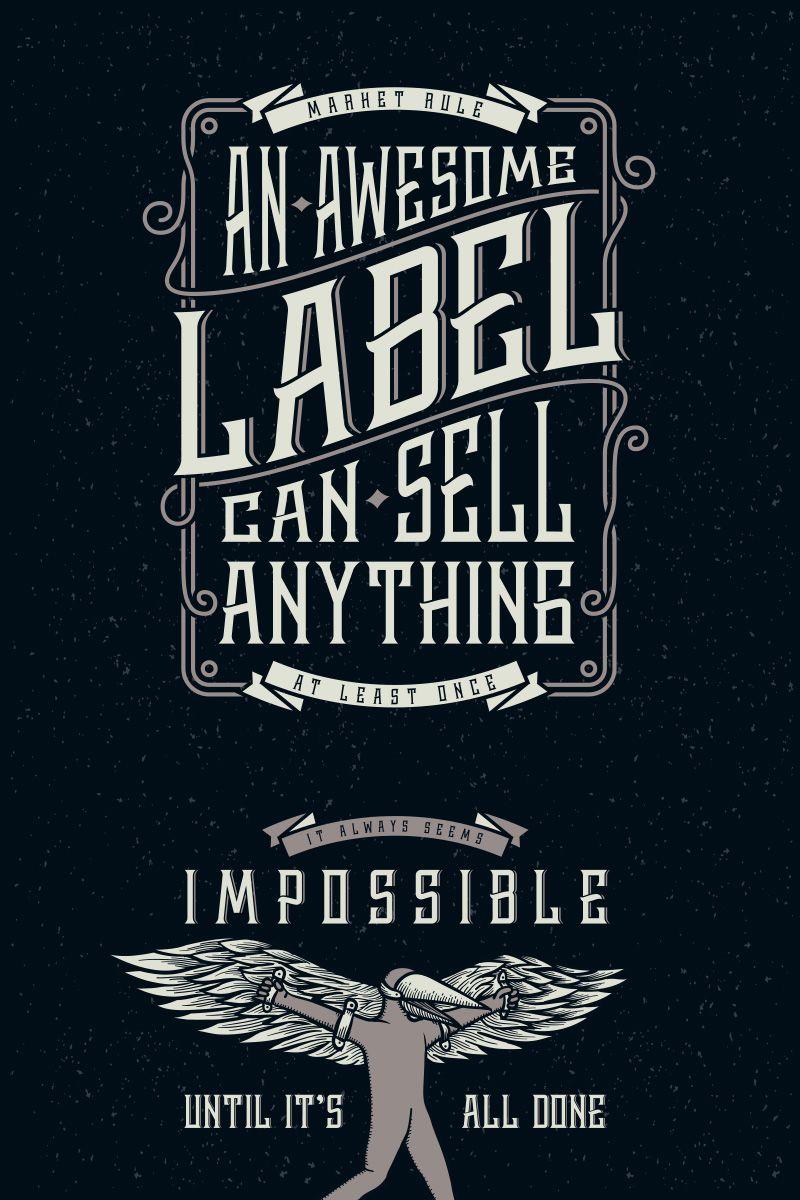 Whiskey Label + Design Elements Font 75301