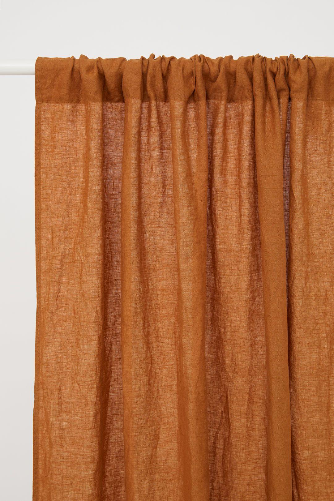 2 Pack Linen Curtain Panels Ocher Home All H M Us 2 Retro Curtains Panel Curtains Linen Curtains