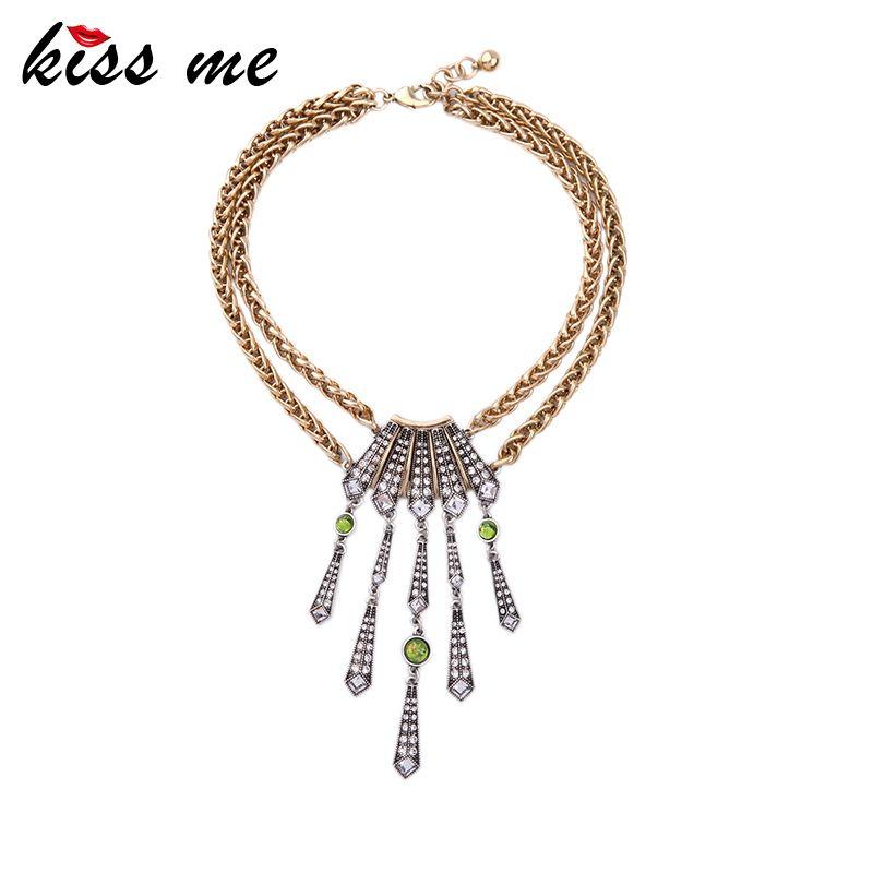 0e7930b0bf15 Newest Choker Necklace Geometric Pendants Two Layers Iron Chains Necklace  Female Bijoux