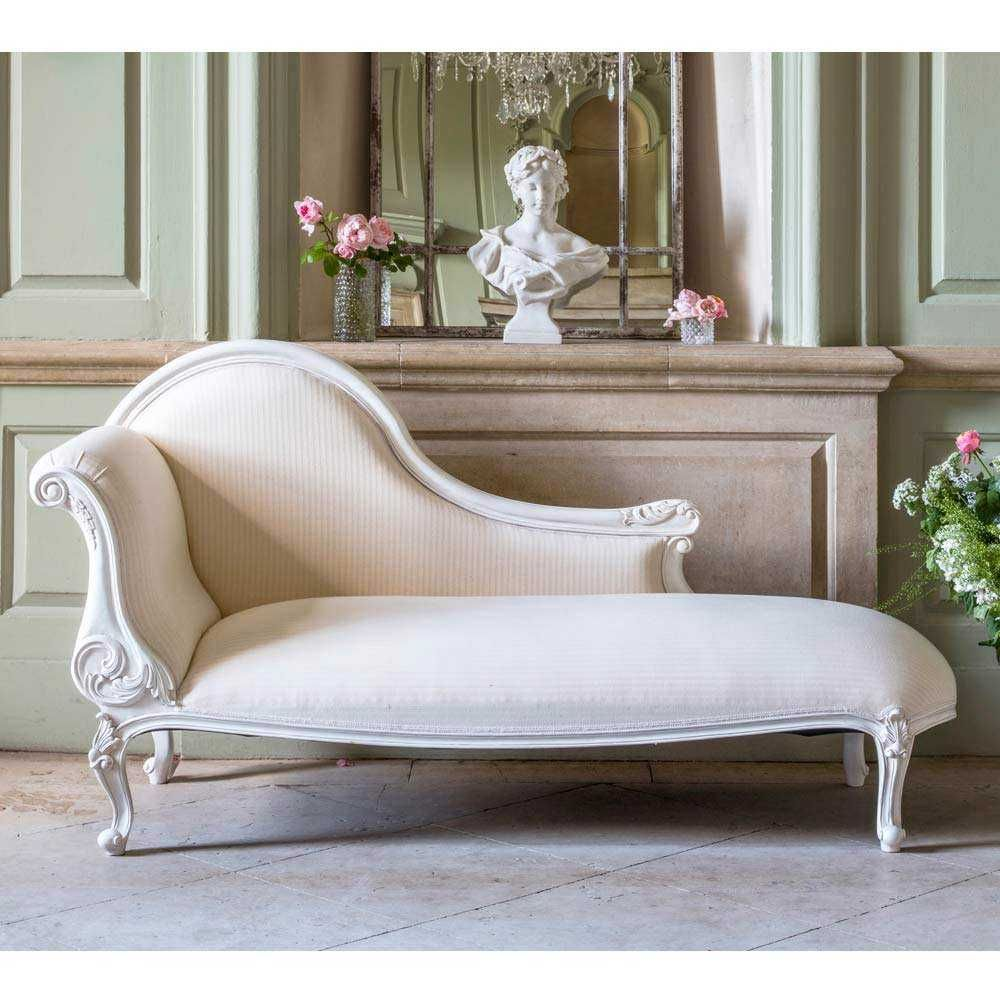 Provencal white chaise longue french furniture and for Antique french chaise longue