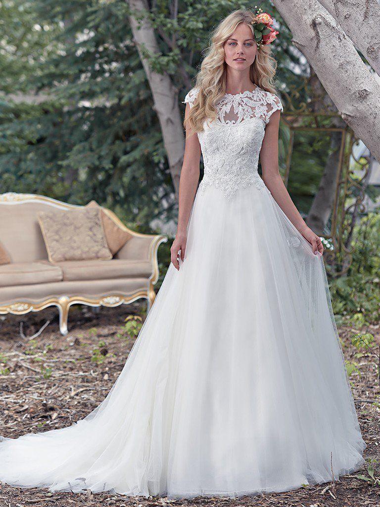 Illusion lace wedding dress  Maggie Sottero Wedding Dresses  Maggie sottero Lace bodice and