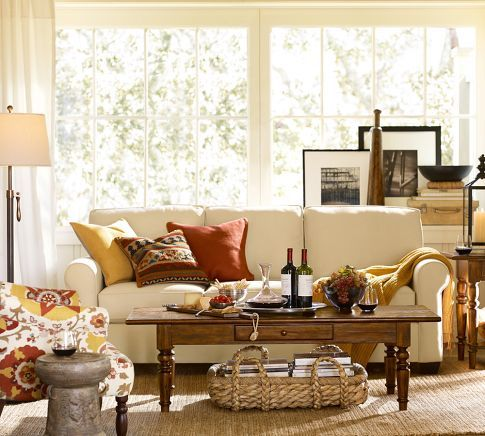 Buchanan Sofa Pottery Barn Love The Color In The Pillows And
