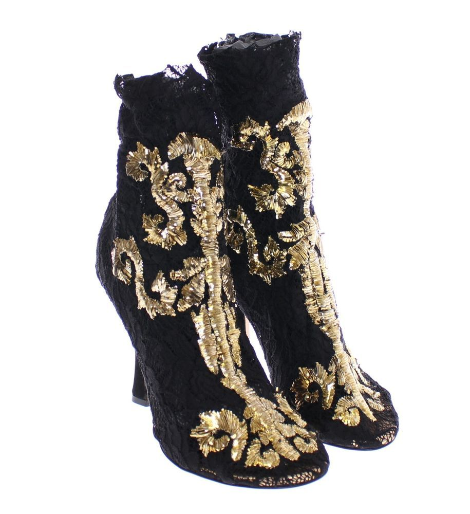 nwt 1800 dolce gabbana black gold baroque lace boots
