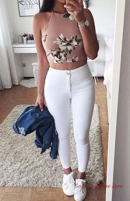 2020 Yüksek Bel Kot Pantolon Kombin Önerileri Beyaz Yüksel Bel Pantolon Pudra Halter Yaka Desenli Kısa Bluz Beyaz Spor Ayakkabı – Beğendim