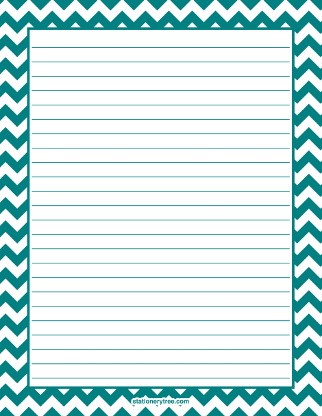 Printable Teal Chevron Stationery And Writing Paper Multiple