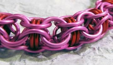 Pink, captive red Chainmaille by TheBeadMuse for $25.00