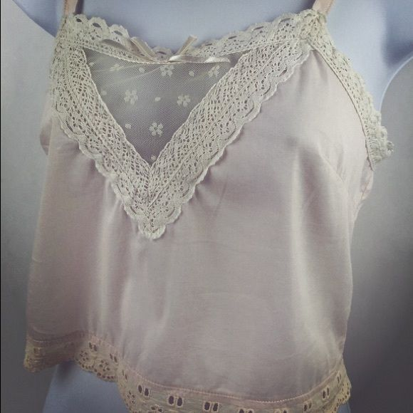 KIMCHI BLUE Camisole Pretty little cotton camisole. Buttons down in the back. Adjustable stars. Vintage style crochet and eyelet trims. Base is a very pale pink with creamy accents. Kimchi Blue Intimates & Sleepwear Chemises & Slips