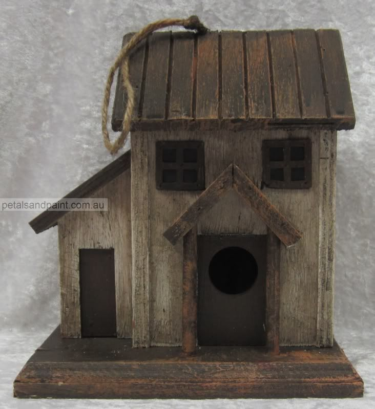 hanging timber bird house cottage design rustic aged look garden