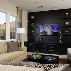 Maybe A Black Accent Wall Black Living Room Media Room Design
